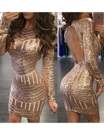 Fashion Gold Open Back Sequin Dress