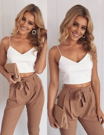 Fashion Khaki Camisole + Small Leg Pants