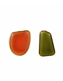 Fashion Orange + Green Alloy Resin Geometry Asymmetric Earrings