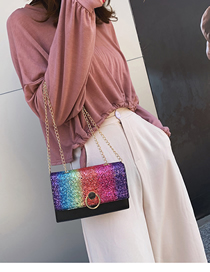 Fashion Rainbow Color Sequin Shoulder Messenger Bag