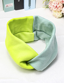 Fashion Fruit Green + If Grass High Elastic Color Matching Cross Hair Band