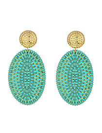 Fashion Lake Green Alloy Rattan Oval Stud Earrings