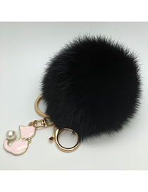 Fashion Black Fur Real Rabbit Hair Ball Pendant Keychain