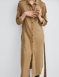 Fashion Khaki Single-breasted Lace-up Irregular Hem Dress