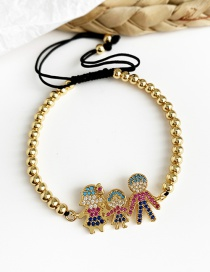 Fashion Gold Copper Inlaid Zircon Beaded Family Of Three Puppet Bracelets