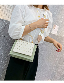 Fashion White Rhinestone Rivet Contrast Color Shoulder Bag
