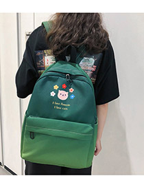 Fashion Dark Green Oxford Cloth Contrast Backpack