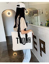 Fashion White Big Letter Canvas Shoulder Bag