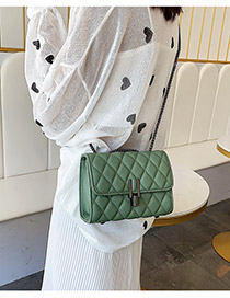 Fashion Green Large Grids Pattern Bag