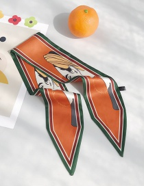 Fashion Woman Head Green Side Orange Sharp Angle Silk Scarf