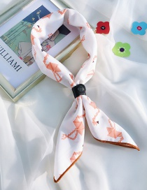 Fashion Origami Flamingo White Chiffon Printed Silk Scarf With Leather Buckle