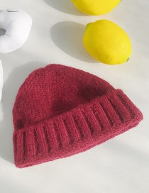 Fashion Rough Side Short Wine Red Wool Knit Parent-child Melon Cap
