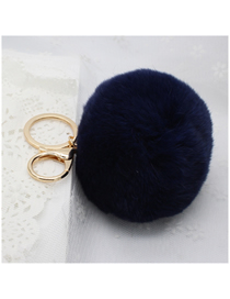 Fashion Navy 8cm Rabbit Fur Ball Keychain