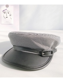 Fashion Houndstooth Skin Black Houndstooth Cotton Stitching Pu Leather Buckle Cap