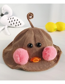 Fashion Antenna Duckling Brown Cartoon Ducklings: Corduroy Ball: Child Fisherman Hat