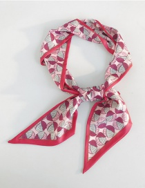 Fashion Three-color Shell Rose Red Small Scarf