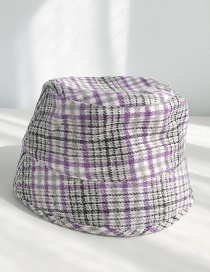 Fashion Houndstooth Bucket Purple Houndstooth Man's Flat Cap