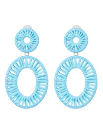 Fashion Blue Hollow Alloy Lafite Woven Earrings