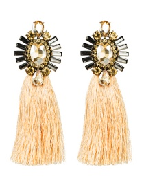 Fashion Gold Acrylic-studded Tassel Earrings