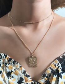 Fashion Gold Alloy Rose Square Necklace
