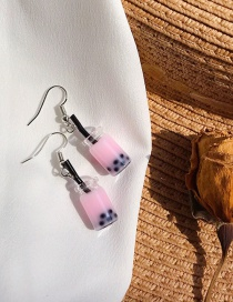 Fashion Pink Pearl Milk Tea Earrings