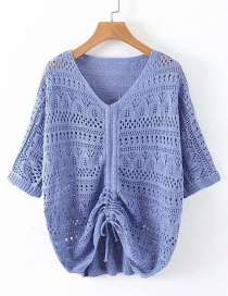 Fashion Blue Bright Silk Openwork Knit Sweater
