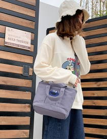 Fashion Gray Cartoon Embroidered Sequin Canvas Shoulder Diagonal Package