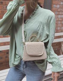 Fashion Beige Straw Hand Shoulder Shoulder Bag