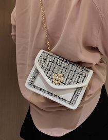 Fashion White Chain Flap Contrast Shoulder Crossbody Bag