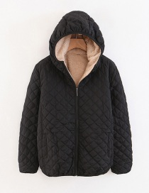 Fashion Black Checked Lamb Hooded Hooded Padded Coat