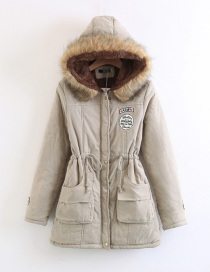 Fashion Khaki Thickened Hooded Long Fur Collar Lamb Fluffy Drawstring Cotton Coat