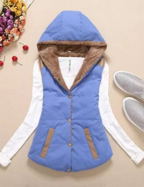 Fashion Blue Thickened And Velvet Hooded Cotton Vest
