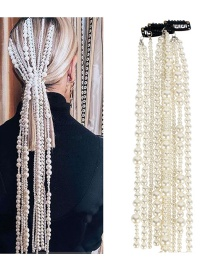 Fashion White Abs Imitation Pearl Hair Chain