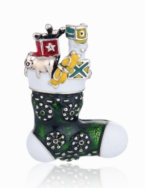 Fashion Green Alloy Dripping Christmas Stocking Brooch