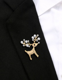 Fashion Gray Alloy Diamond Pearl Christmas Deer Brooch