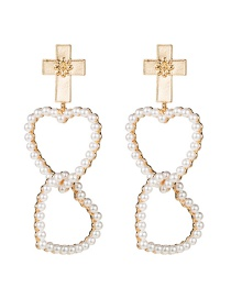 Fashion Gold Alloy Cross Multilayer Heart Shaped Pearl Earrings