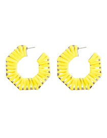 Fashion Yellow Regular Octagonal Notched C-shaped Alloy Lafite Earrings
