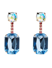 Fashion Blue Acrylic Diamond Sapphire Earrings