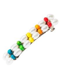 Fashion Color Imitation Pearl Wood Beaded Hair Clip Top