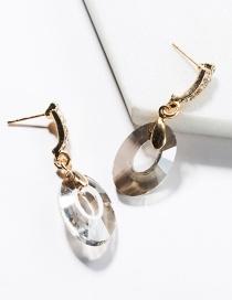 Fashion Dark Gray Alloy-studded Oval Hollow Glass Stud Earrings