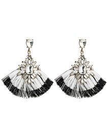 Fashion White Acrylic Diamond Multi-layer Tassel Earrings
