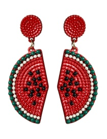 Fashion Red S925 Silver Needle Alloy Paint Watermelon Lemon Earrings