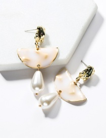 Fashion White Alloy Semi-circular Drop Oil Imitation Pearl Earrings