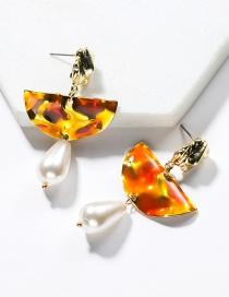 Fashion Red Alloy Semi-circular Drop Oil Imitation Pearl Earrings