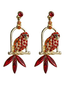Fashion Red Acrylic Diamond Parrot Bird Cage Full Of Diamond Earrings