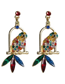 Fashion Color Acrylic Diamond Parrot Bird Cage Full Of Diamond Earrings