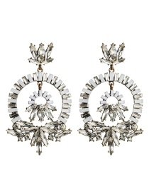 Fashion White Multilayer Ring Acrylic Diamond Flower Earrings