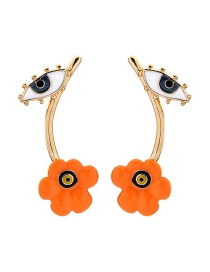 Fashion Orange S925 Sterling Silver Eye Flower Earrings