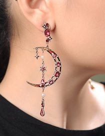 Fashion Short (silver Needle) 925 Sterling Silver Star Moon Earrings