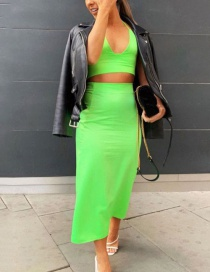 Fashion Fluorescent Green Strap Hanging Neck Two-piece Skirt